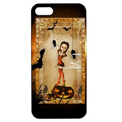 Halloween, Cute Girl With Pumpkin And Spiders Apple Iphone 5 Hardshell Case With Stand by FantasyWorld7