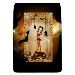 Halloween, Cute Girl With Pumpkin And Spiders Flap Covers (l)