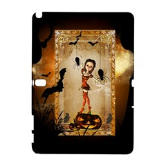 Halloween, Cute Girl With Pumpkin And Spiders Samsung Galaxy Note 10 1 (p600) Hardshell Case by FantasyWorld7