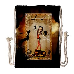 Halloween, Cute Girl With Pumpkin And Spiders Drawstring Bag (large) by FantasyWorld7