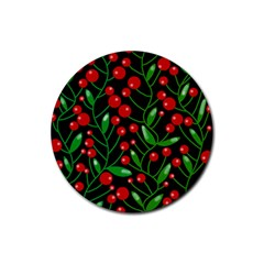 Red Christmas Berries Rubber Coaster (round)  by Valentinaart