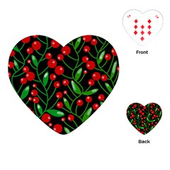 Red Christmas Berries Playing Cards (heart)  by Valentinaart