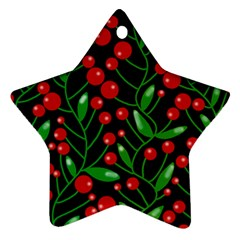 Red Christmas Berries Star Ornament (two Sides)  by Valentinaart
