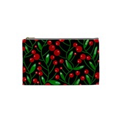 Red Christmas Berries Cosmetic Bag (small)  by Valentinaart