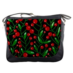 Red Christmas Berries Messenger Bags by Valentinaart