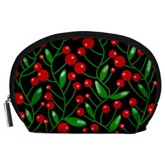 Red Christmas Berries Accessory Pouches (large)  by Valentinaart