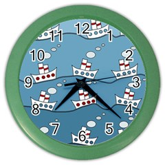 Boats Color Wall Clocks by Valentinaart