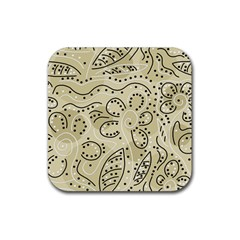 Floral Decor  Rubber Coaster (square)  by Valentinaart