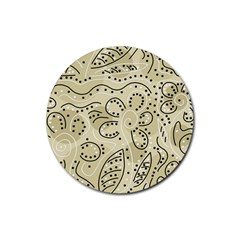 Floral Decor  Rubber Round Coaster (4 Pack)  by Valentinaart