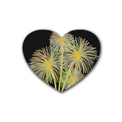 Dandelions Rubber Coaster (heart)  by Valentinaart