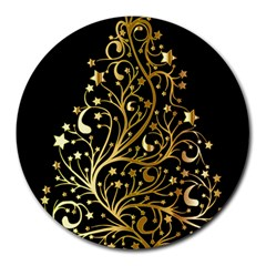 Decorative Starry Christmas Tree Black Gold Elegant Stylish Chic Golden Stars Round Mousepads by yoursparklingshop