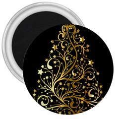 Decorative Starry Christmas Tree Black Gold Elegant Stylish Chic Golden Stars 3  Magnets by yoursparklingshop