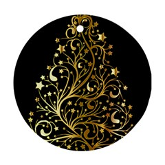 Decorative Starry Christmas Tree Black Gold Elegant Stylish Chic Golden Stars Ornament (round)  by yoursparklingshop