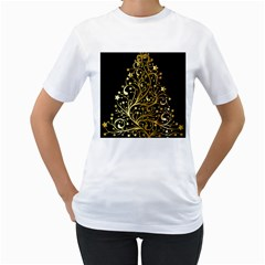 Decorative Starry Christmas Tree Black Gold Elegant Stylish Chic Golden Stars Women s T-shirt (white) (two Sided) by yoursparklingshop