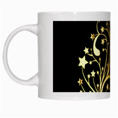 Decorative Starry Christmas Tree Black Gold Elegant Stylish Chic Golden Stars White Mugs by yoursparklingshop