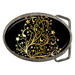Decorative Starry Christmas Tree Black Gold Elegant Stylish Chic Golden Stars Belt Buckles by yoursparklingshop