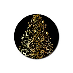 Decorative Starry Christmas Tree Black Gold Elegant Stylish Chic Golden Stars Rubber Coaster (round)  by yoursparklingshop