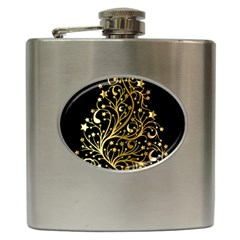 Decorative Starry Christmas Tree Black Gold Elegant Stylish Chic Golden Stars Hip Flask (6 Oz) by yoursparklingshop