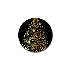 Decorative Starry Christmas Tree Black Gold Elegant Stylish Chic Golden Stars Golf Ball Marker (4 Pack) by yoursparklingshop