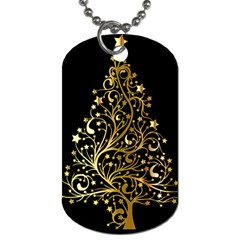 Decorative Starry Christmas Tree Black Gold Elegant Stylish Chic Golden Stars Dog Tag (two Sides) by yoursparklingshop