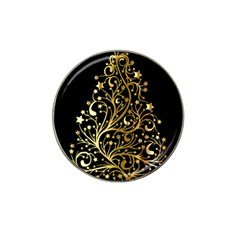 Decorative Starry Christmas Tree Black Gold Elegant Stylish Chic Golden Stars Hat Clip Ball Marker (4 Pack) by yoursparklingshop