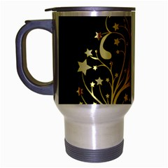 Decorative Starry Christmas Tree Black Gold Elegant Stylish Chic Golden Stars Travel Mug (silver Gray) by yoursparklingshop