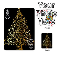 Decorative Starry Christmas Tree Black Gold Elegant Stylish Chic Golden Stars Playing Cards 54 Designs  by yoursparklingshop