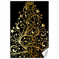 Decorative Starry Christmas Tree Black Gold Elegant Stylish Chic Golden Stars Canvas 20  X 30   by yoursparklingshop