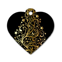 Decorative Starry Christmas Tree Black Gold Elegant Stylish Chic Golden Stars Dog Tag Heart (one Side) by yoursparklingshop