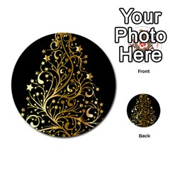 Decorative Starry Christmas Tree Black Gold Elegant Stylish Chic Golden Stars Multi Purpose Cards (round)  by yoursparklingshop
