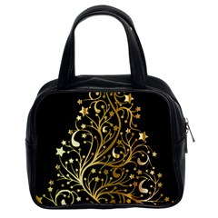 Decorative Starry Christmas Tree Black Gold Elegant Stylish Chic Golden Stars Classic Handbags (2 Sides) by yoursparklingshop