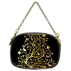 Decorative Starry Christmas Tree Black Gold Elegant Stylish Chic Golden Stars Chain Purses (one Side)  by yoursparklingshop