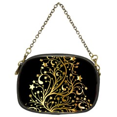 Decorative Starry Christmas Tree Black Gold Elegant Stylish Chic Golden Stars Chain Purses (two Sides)  by yoursparklingshop