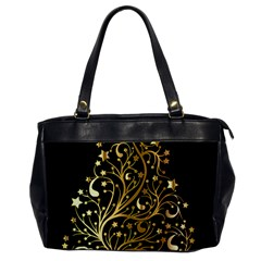 Decorative Starry Christmas Tree Black Gold Elegant Stylish Chic Golden Stars Office Handbags by yoursparklingshop
