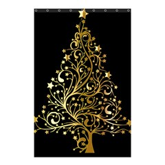 Decorative Starry Christmas Tree Black Gold Elegant Stylish Chic Golden Stars Shower Curtain 48  X 72  (small)  by yoursparklingshop
