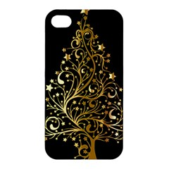 Decorative Starry Christmas Tree Black Gold Elegant Stylish Chic Golden Stars Apple Iphone 4/4s Premium Hardshell Case by yoursparklingshop