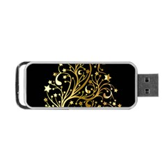 Decorative Starry Christmas Tree Black Gold Elegant Stylish Chic Golden Stars Portable Usb Flash (one Side) by yoursparklingshop