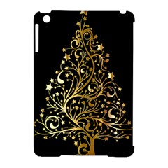 Decorative Starry Christmas Tree Black Gold Elegant Stylish Chic Golden Stars Apple Ipad Mini Hardshell Case (compatible With Smart Cover) by yoursparklingshop