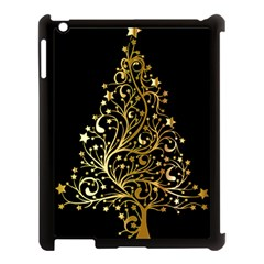 Decorative Starry Christmas Tree Black Gold Elegant Stylish Chic Golden Stars Apple Ipad 3/4 Case (black) by yoursparklingshop
