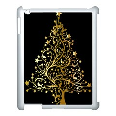Decorative Starry Christmas Tree Black Gold Elegant Stylish Chic Golden Stars Apple Ipad 3/4 Case (white) by yoursparklingshop