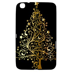 Decorative Starry Christmas Tree Black Gold Elegant Stylish Chic Golden Stars Samsung Galaxy Tab 3 (8 ) T3100 Hardshell Case  by yoursparklingshop