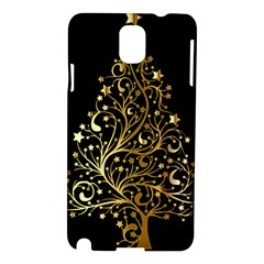 Decorative Starry Christmas Tree Black Gold Elegant Stylish Chic Golden Stars Samsung Galaxy Note 3 N9005 Hardshell Case by yoursparklingshop