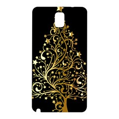 Decorative Starry Christmas Tree Black Gold Elegant Stylish Chic Golden Stars Samsung Galaxy Note 3 N9005 Hardshell Back Case by yoursparklingshop