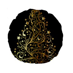Decorative Starry Christmas Tree Black Gold Elegant Stylish Chic Golden Stars Standard 15  Premium Flano Round Cushions by yoursparklingshop