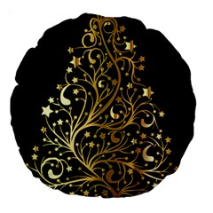 Decorative Starry Christmas Tree Black Gold Elegant Stylish Chic Golden Stars Large 18  Premium Flano Round Cushions by yoursparklingshop