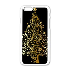 Decorative Starry Christmas Tree Black Gold Elegant Stylish Chic Golden Stars Apple Iphone 6/6s White Enamel Case by yoursparklingshop