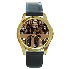 Funny Coffee Beans Brown Typography Round Gold Metal Watch by yoursparklingshop