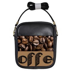Funny Coffee Beans Brown Typography Girls Sling Bags by yoursparklingshop