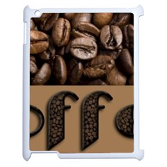 Funny Coffee Beans Brown Typography Apple Ipad 2 Case (white) by yoursparklingshop
