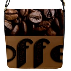 Funny Coffee Beans Brown Typography Flap Messenger Bag (s) by yoursparklingshop